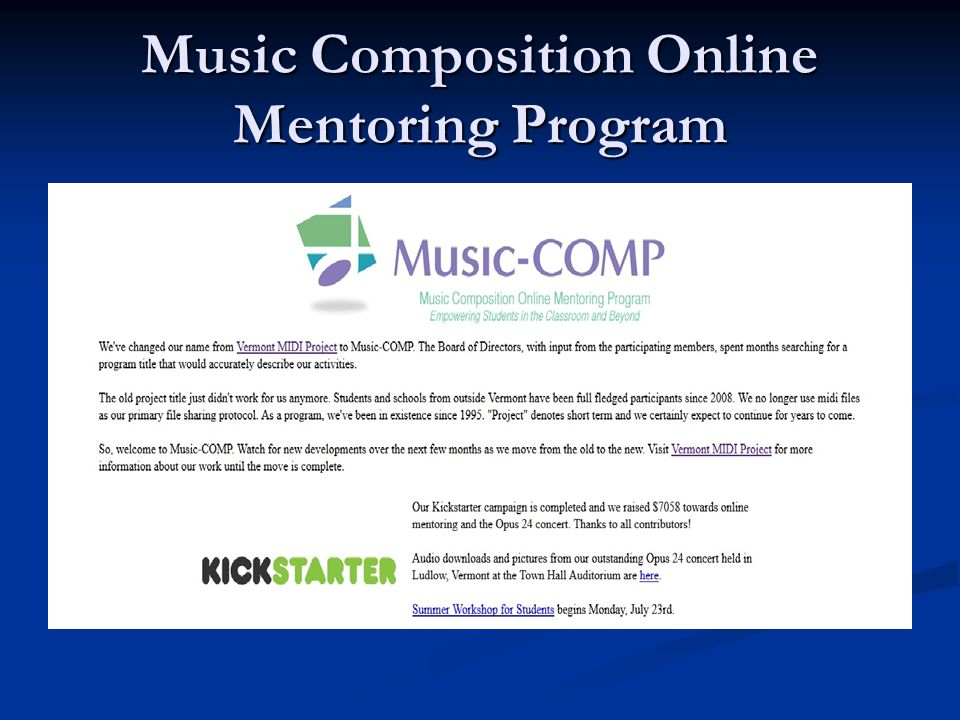 Music Composition Online Mentoring Program
