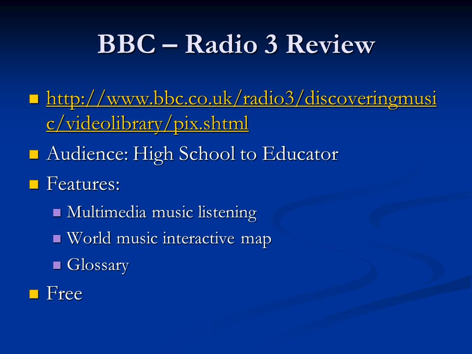 BBC – Radio 3 Review http://www.bbc.co.uk/radio3/discoveringmusic/videolibrary/pix.shtml. Audience: High School to Educator.
