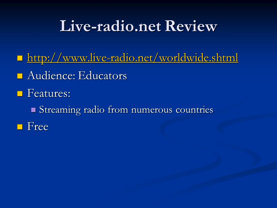 Live-radio.net Review http://www.live-radio.net/worldwide.shtml