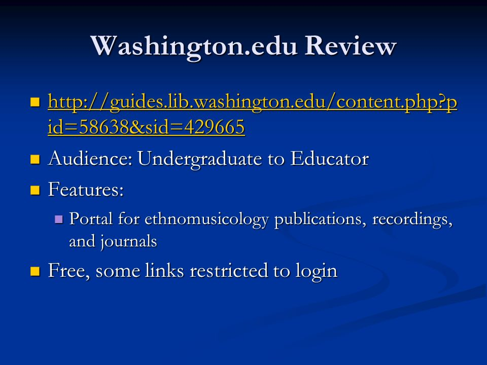 Washington.edu Review http://guides.lib.washington.edu/content.php pid=58638&sid=429665. Audience: Undergraduate to Educator.