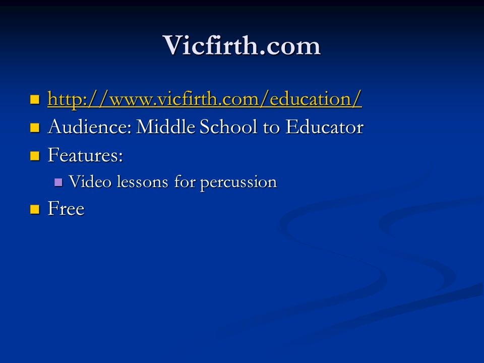 Vicfirth.com http://www.vicfirth.com/education/