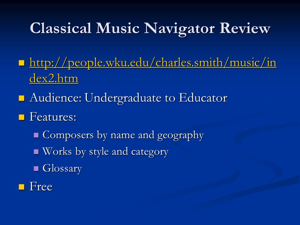 Classical Music Navigator Review