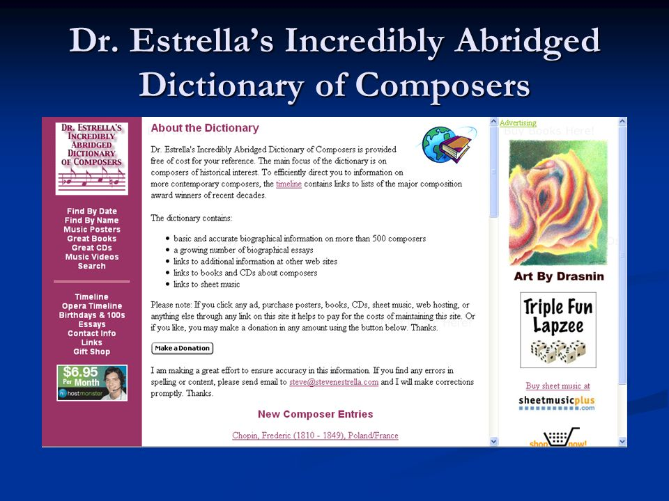 Dr. Estrella's Incredibly Abridged Dictionary of Composers