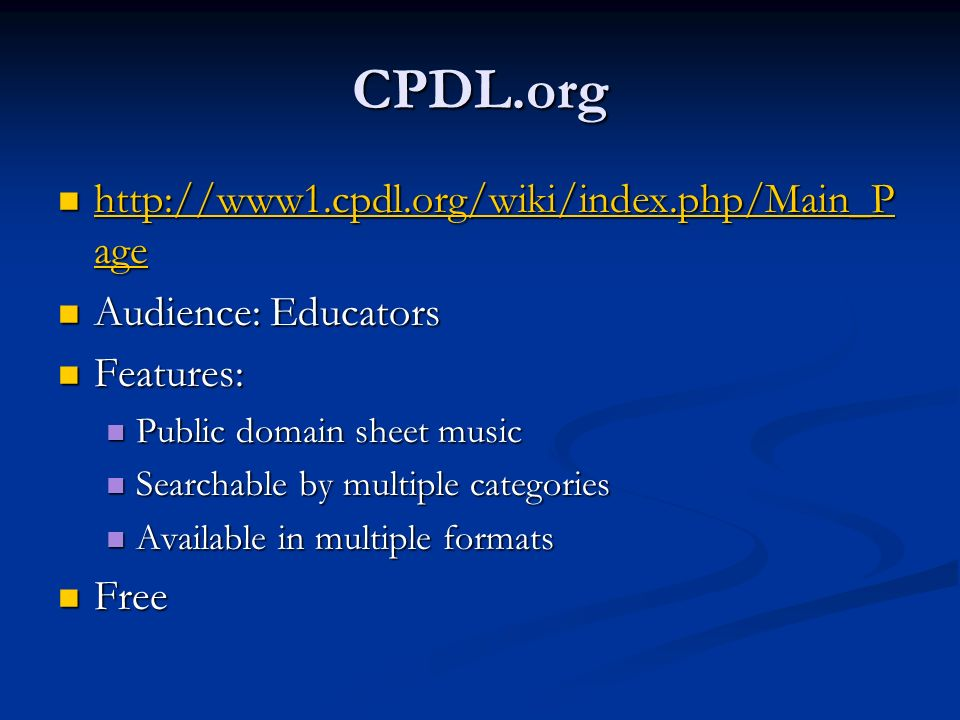 CPDL.org http://www1.cpdl.org/wiki/index.php/Main_Page
