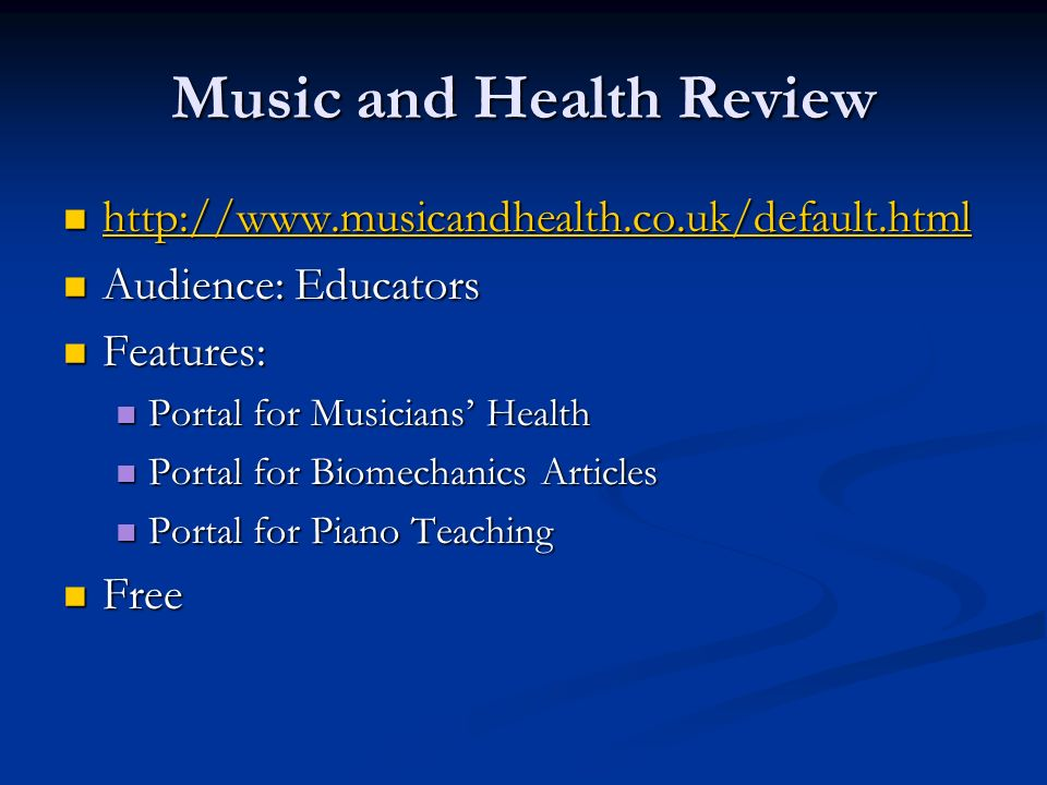 Music and Health Review