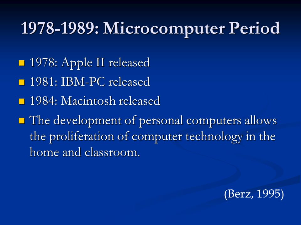 1978-1989: Microcomputer Period