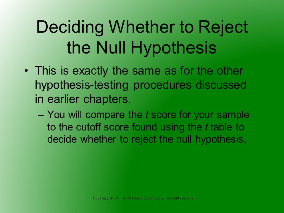 Deciding Whether to Reject the Null Hypothesis
