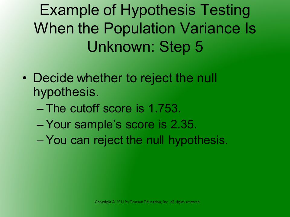Example of Hypothesis Testing When the Population Variance Is Unknown: Step 5