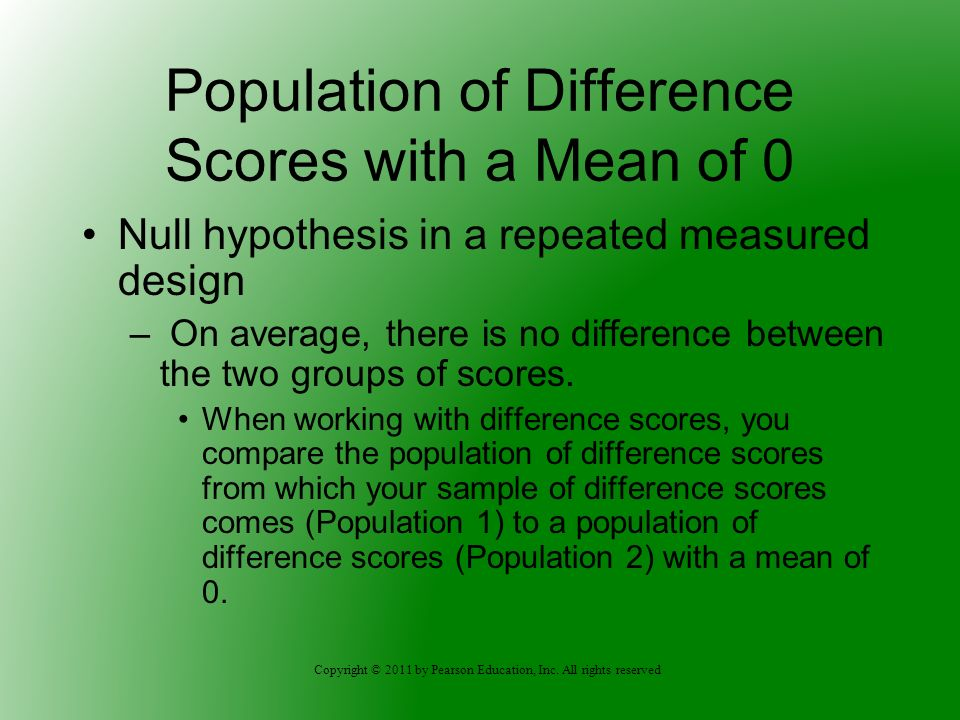Population of Difference Scores with a Mean of 0