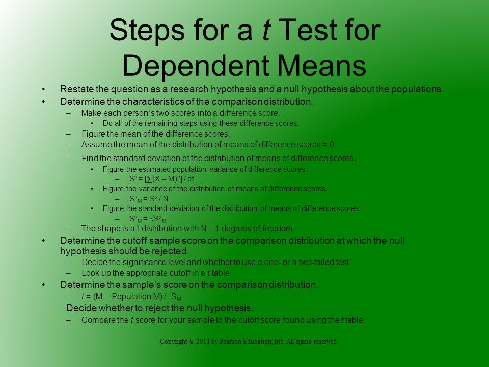 Steps for a t Test for Dependent Means