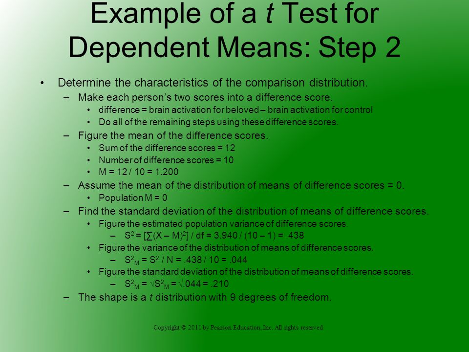 Example of a t Test for Dependent Means: Step 2