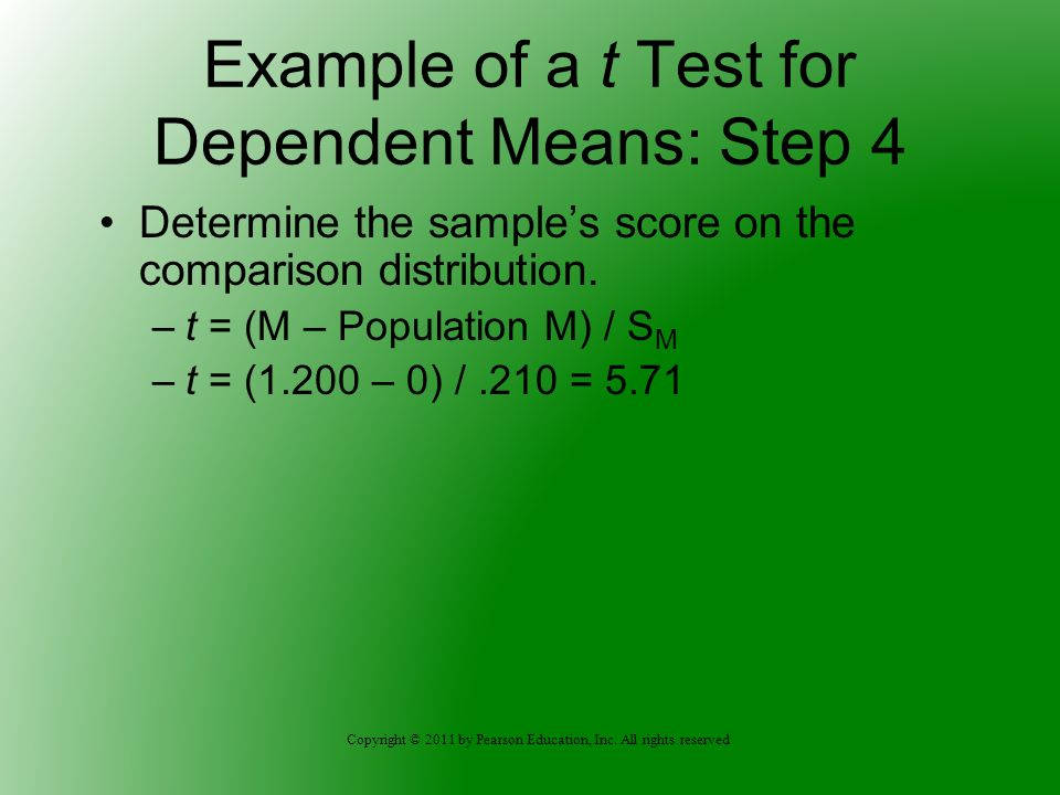 Example of a t Test for Dependent Means: Step 4