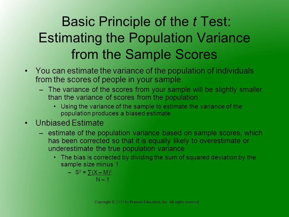 Basic Principle of the t Test: Estimating the Population Variance from the Sample Scores