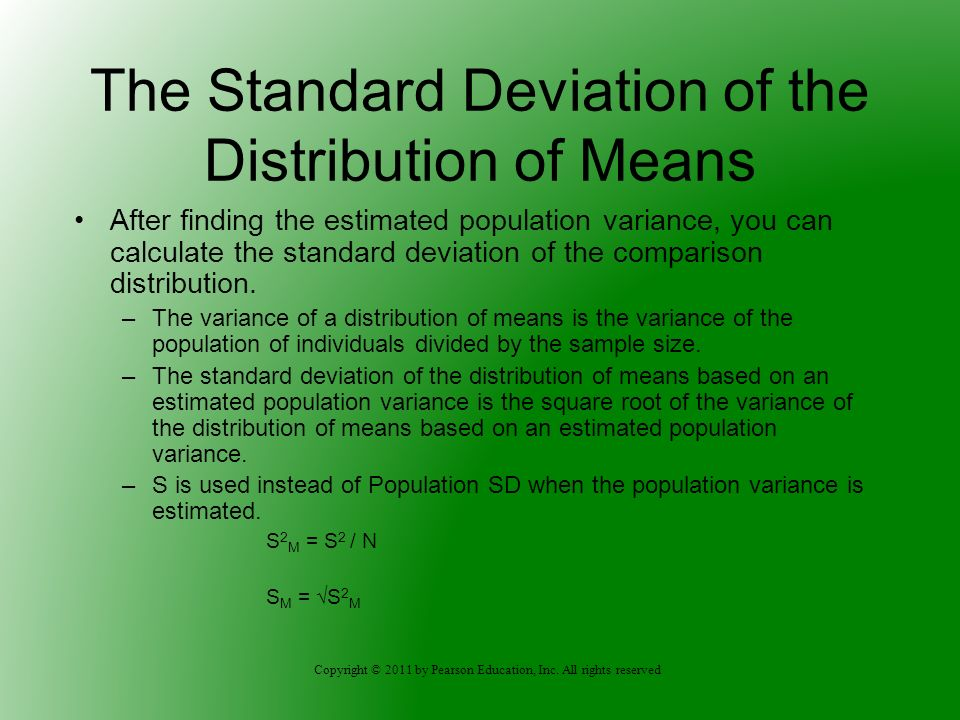 The Standard Deviation of the Distribution of Means
