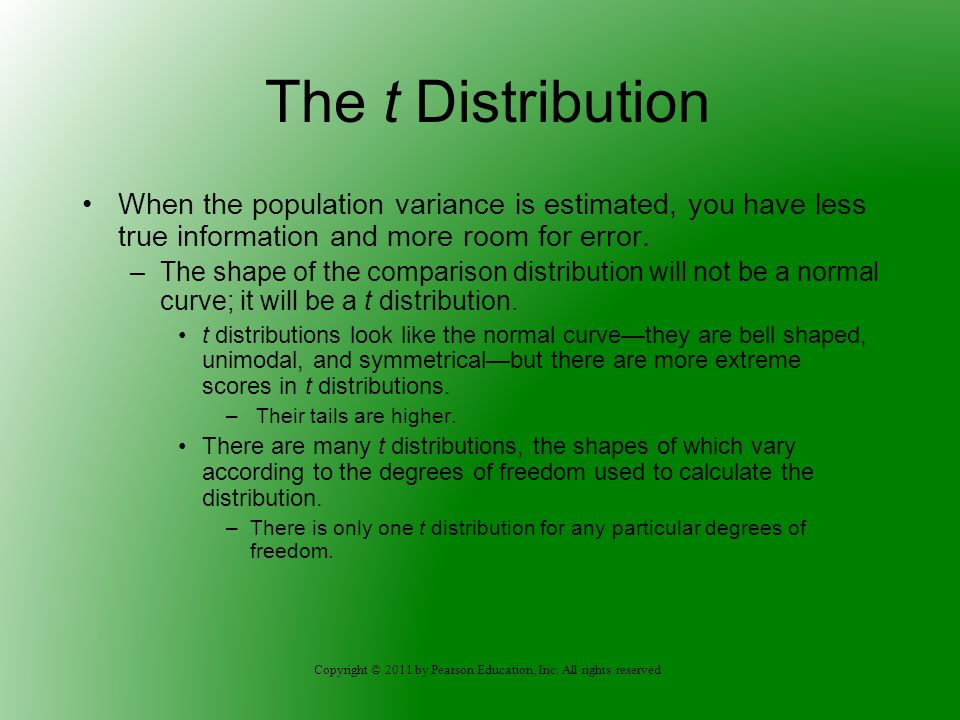 The t Distribution When the population variance is estimated, you have less true information and more room for error.