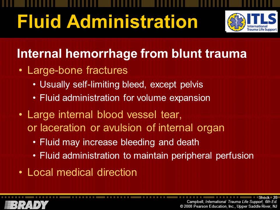 Fluid Administration Internal hemorrhage from blunt trauma