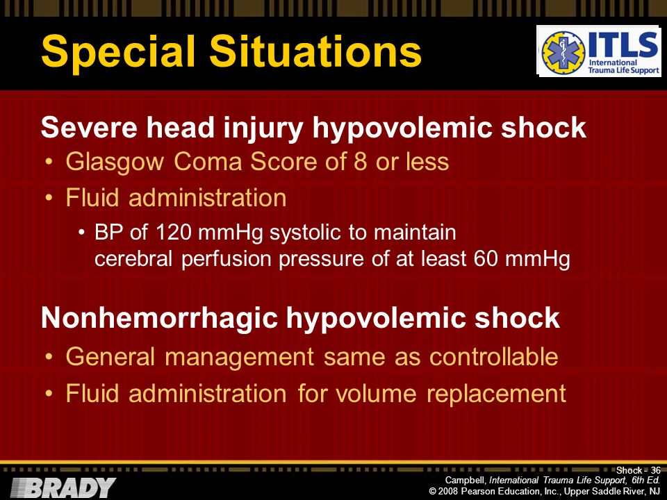 Special Situations Severe head injury hypovolemic shock