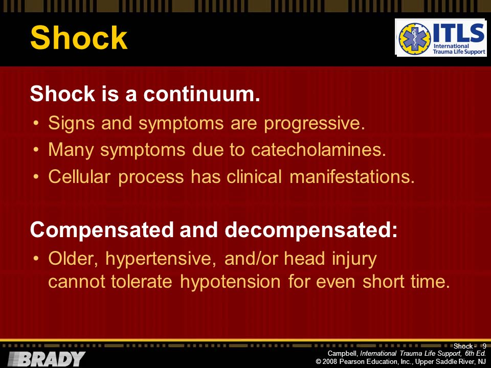 Shock Shock is a continuum. Compensated and decompensated: