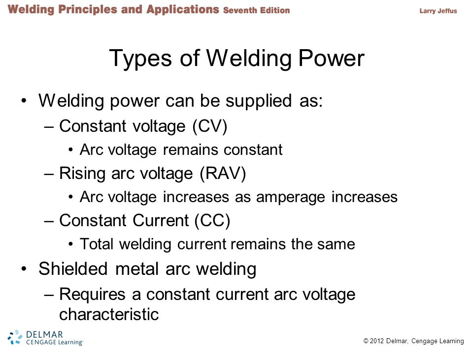 Types of Welding Power Welding power can be supplied as: