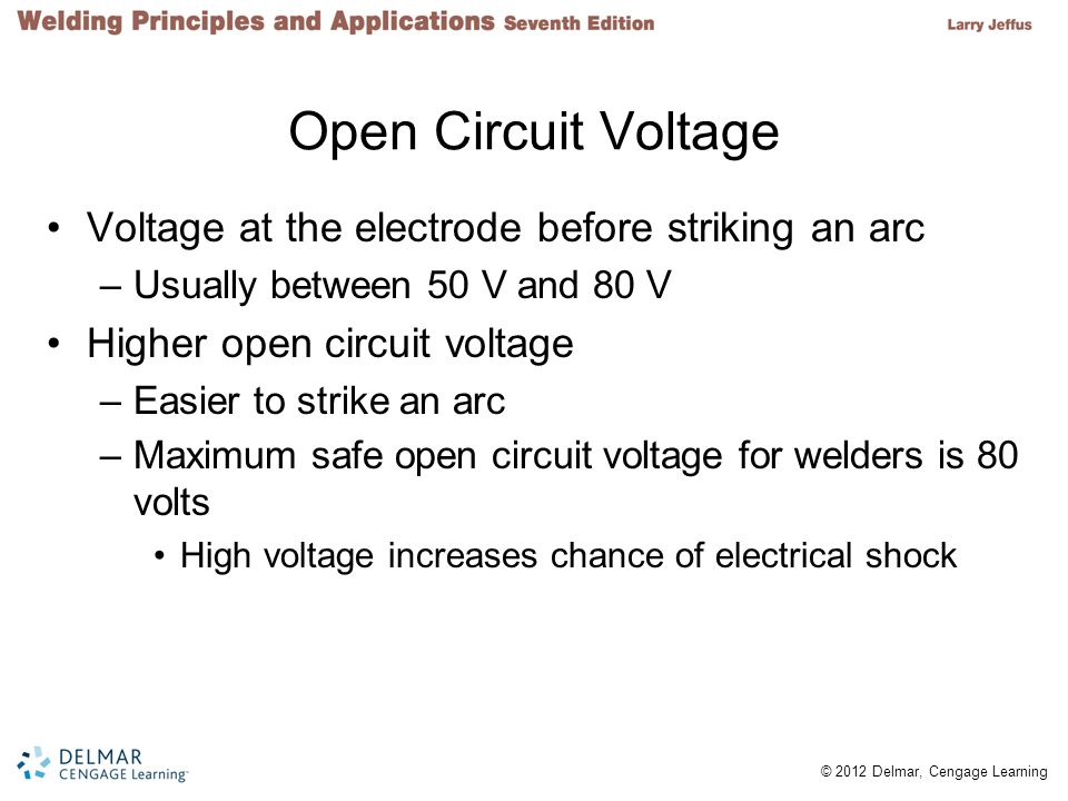 Open Circuit Voltage Voltage at the electrode before striking an arc