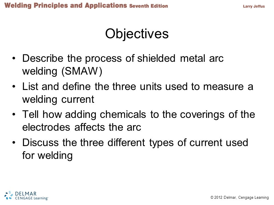 Objectives Describe the process of shielded metal arc welding (SMAW)