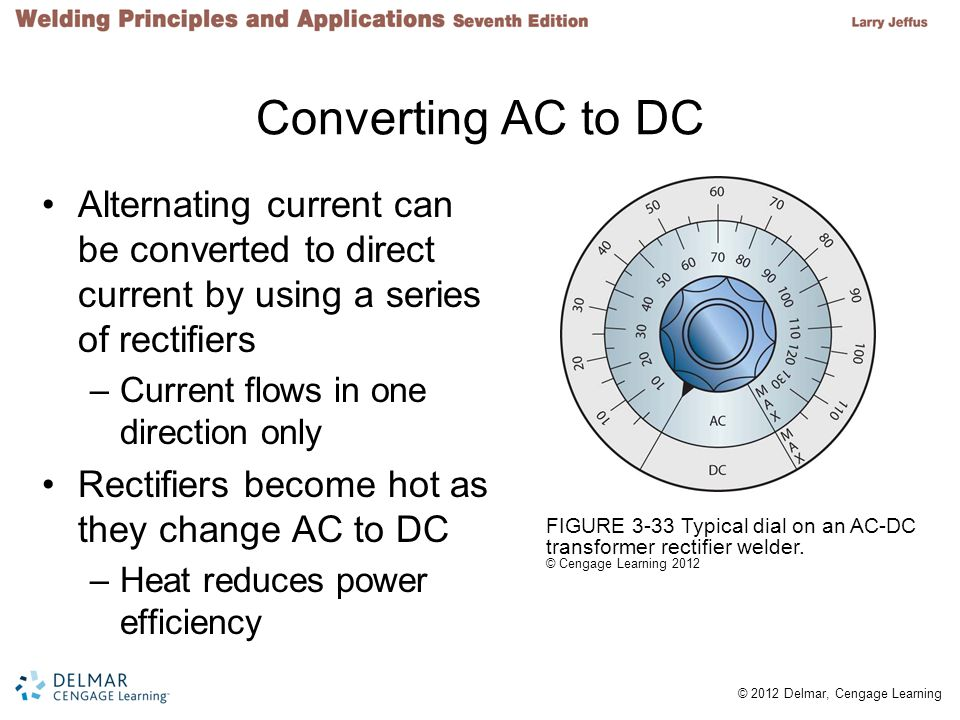 Converting AC to DC Alternating current can be converted to direct current by using a series of rectifiers.
