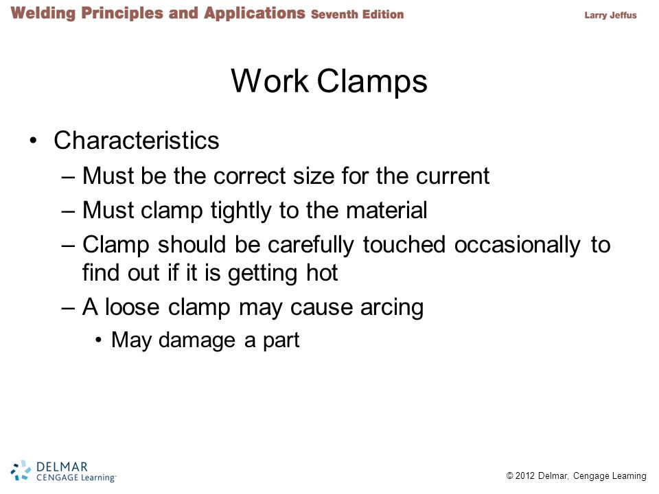 Work Clamps Characteristics Must be the correct size for the current