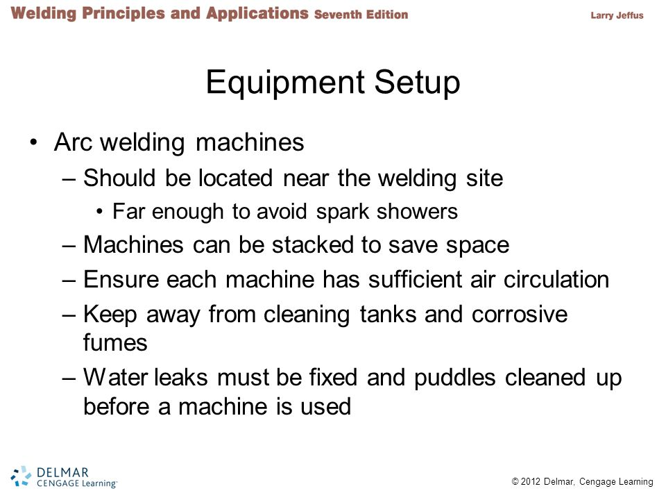 Equipment Setup Arc welding machines