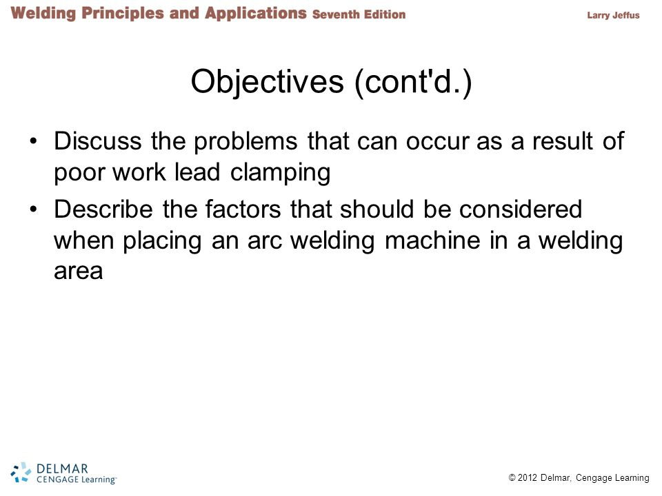 Objectives (cont d.) Discuss the problems that can occur as a result of poor work lead clamping.