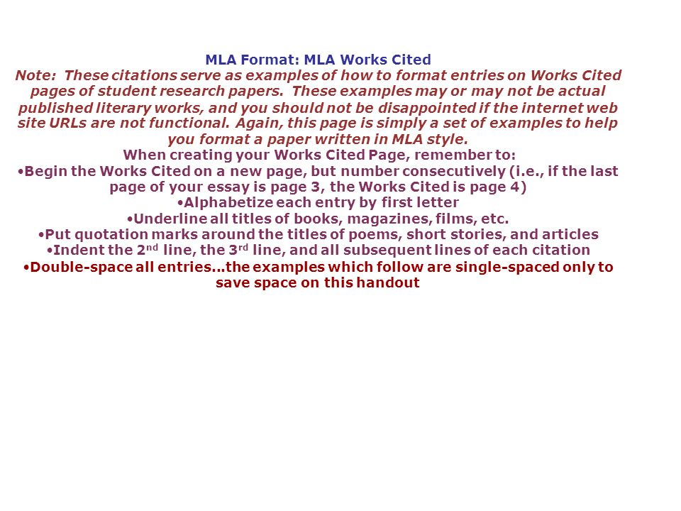 MLA Format: MLA Works Cited