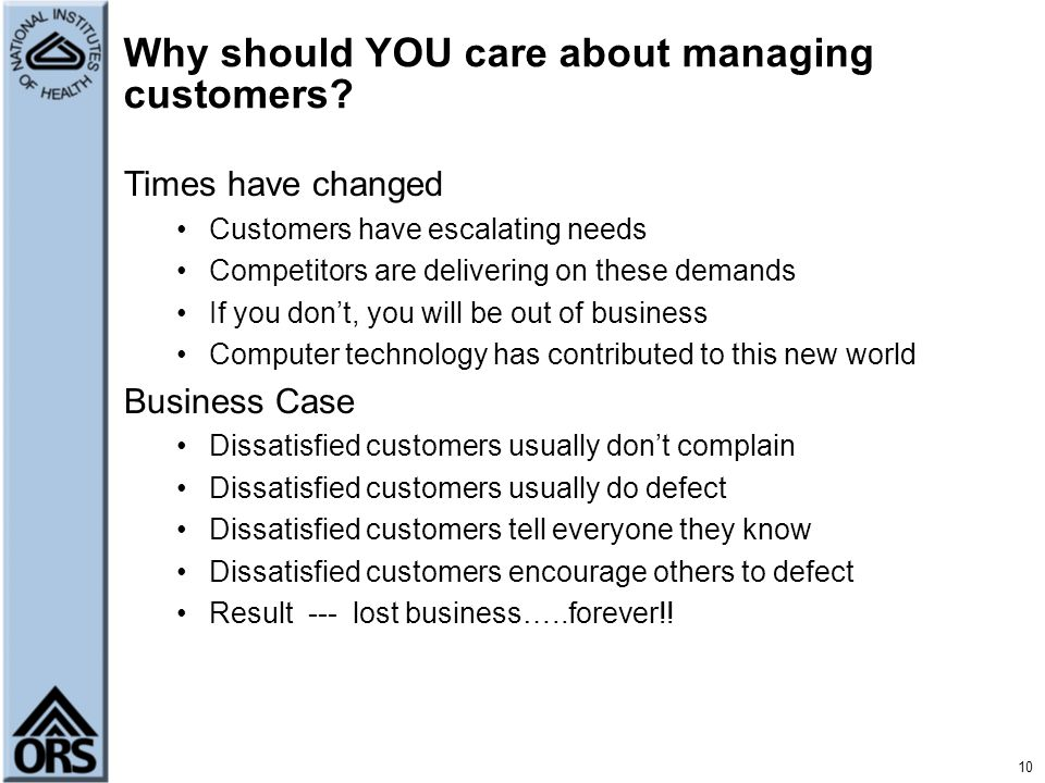 Why should YOU care about managing customers