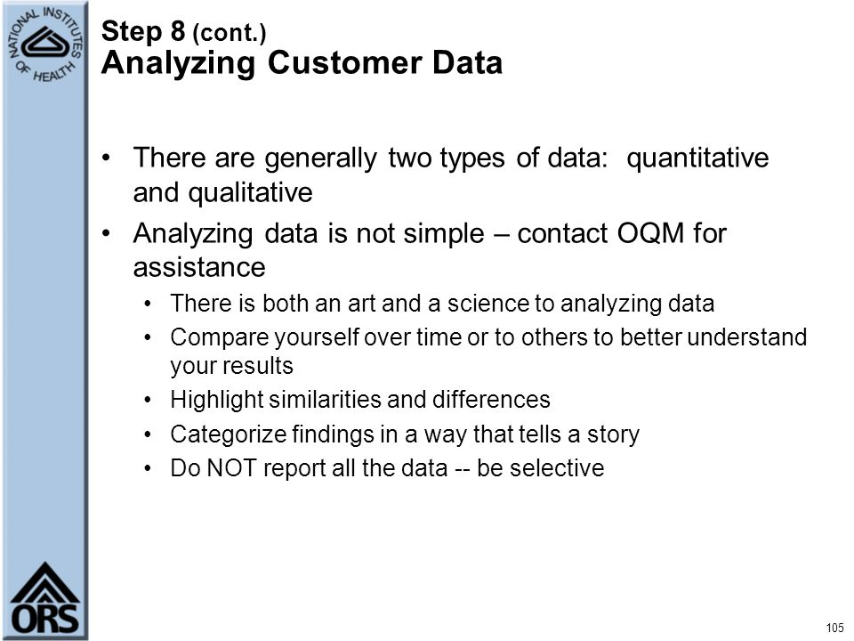 Step 8 (cont.) Analyzing Customer Data