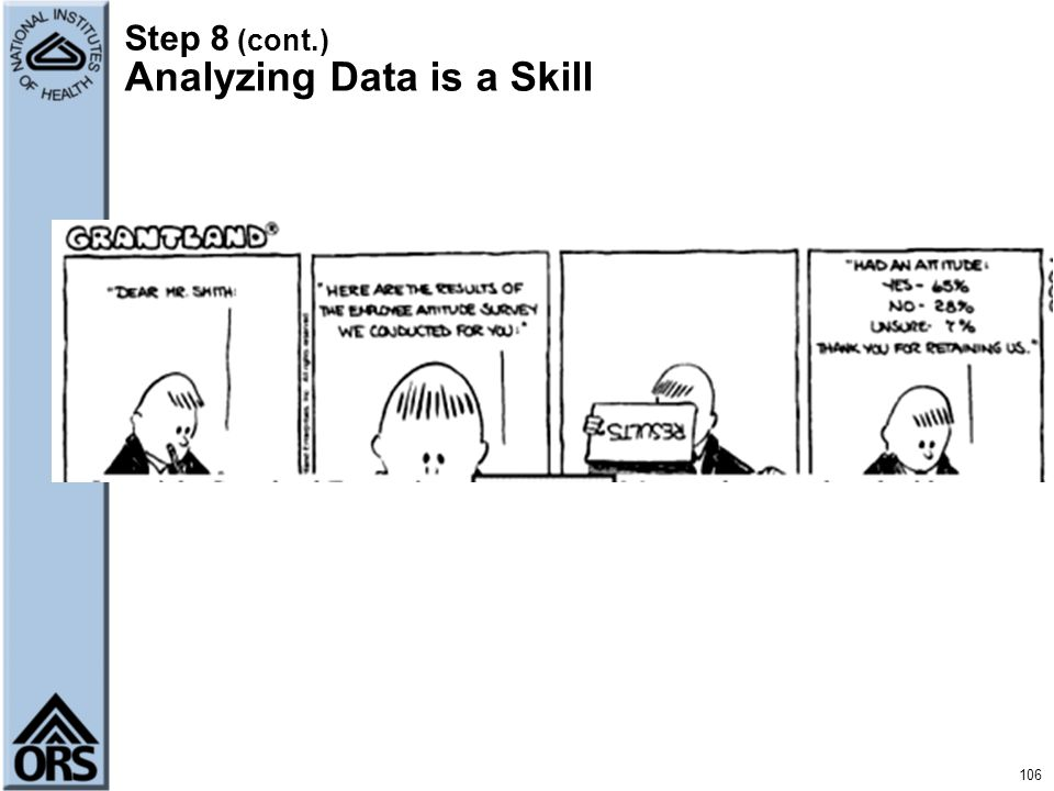 Step 8 (cont.) Analyzing Data is a Skill