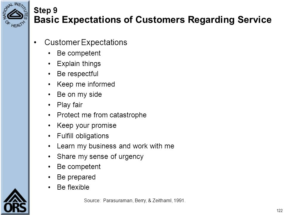 Step 9 Basic Expectations of Customers Regarding Service