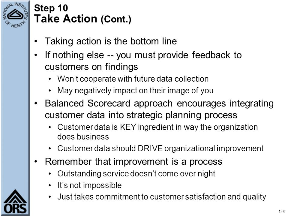 Step 10 Take Action (Cont.)