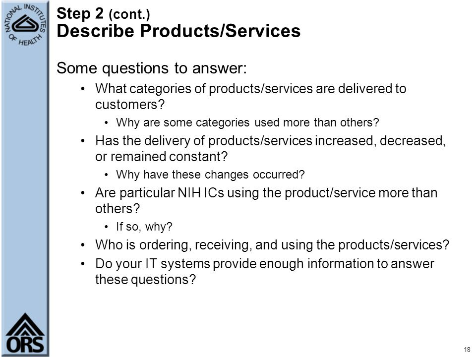 Step 2 (cont.) Describe Products/Services