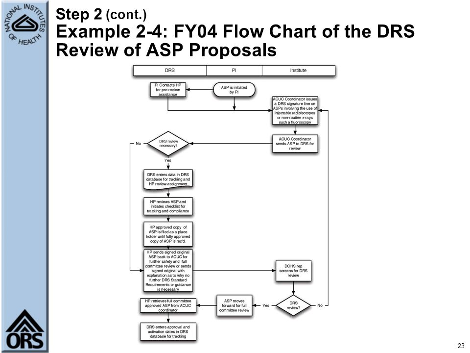 Step 2 (cont.) Example 2-4: FY04 Flow Chart of the DRS Review of ASP Proposals