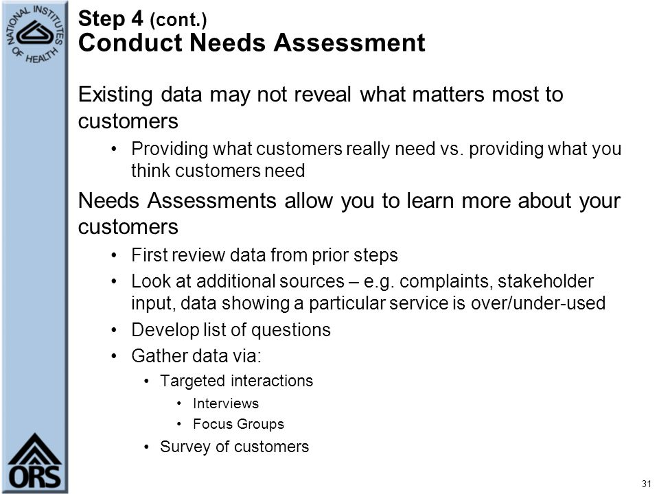 Step 4 (cont.) Conduct Needs Assessment