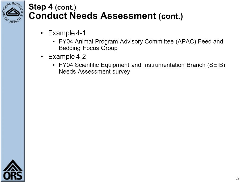 Step 4 (cont.) Conduct Needs Assessment (cont.)
