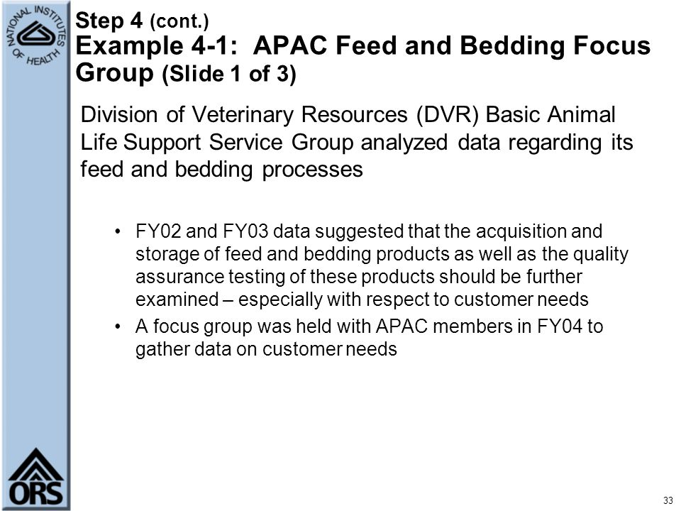 Step 4 (cont.) Example 4-1: APAC Feed and Bedding Focus Group (Slide 1 of 3)