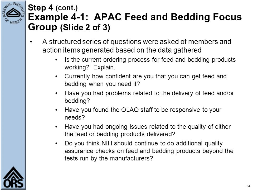 Step 4 (cont.) Example 4-1: APAC Feed and Bedding Focus Group (Slide 2 of 3)