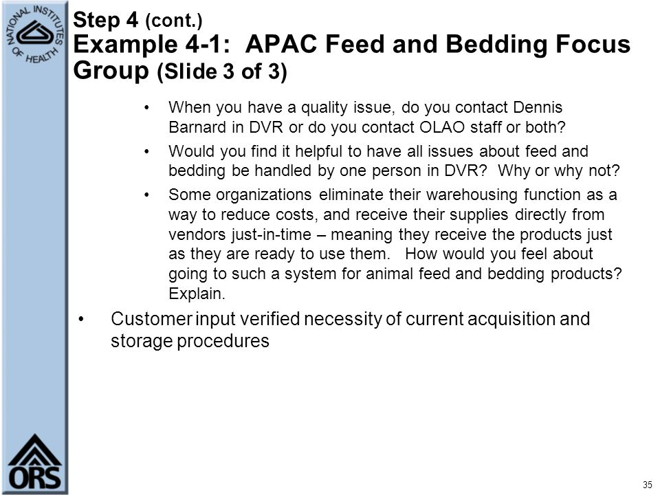 Step 4 (cont.) Example 4-1: APAC Feed and Bedding Focus Group (Slide 3 of 3)