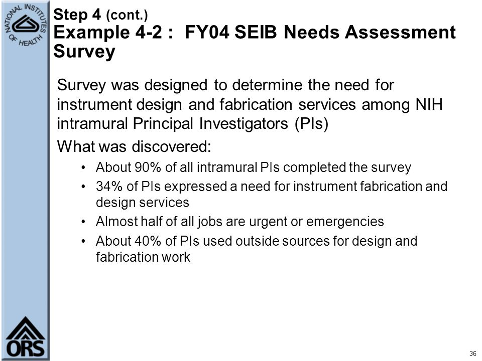 Step 4 (cont.) Example 4-2 : FY04 SEIB Needs Assessment Survey