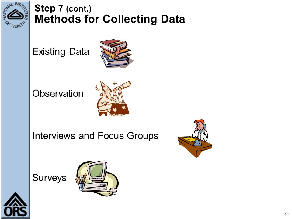 Step 7 (cont.) Methods for Collecting Data