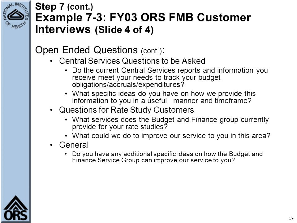 Open Ended Questions (cont.):