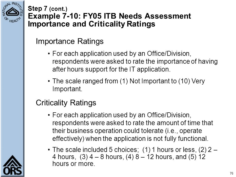 Importance Ratings Criticality Ratings