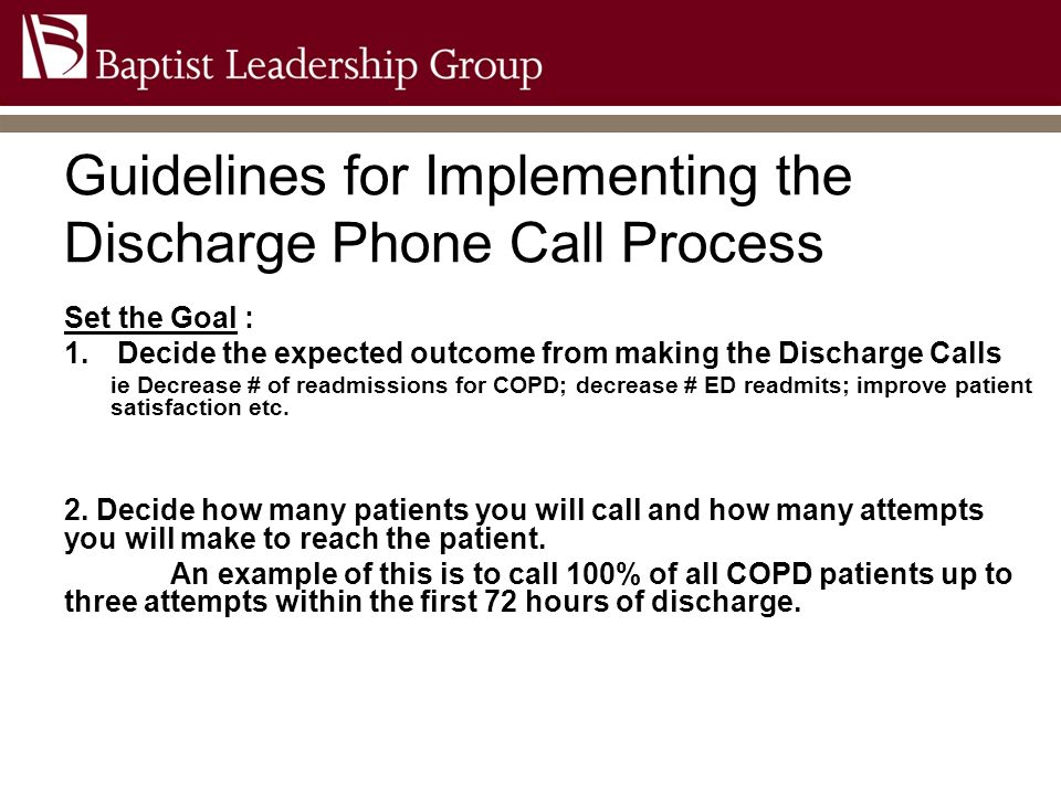 Guidelines for Implementing the Discharge Phone Call Process