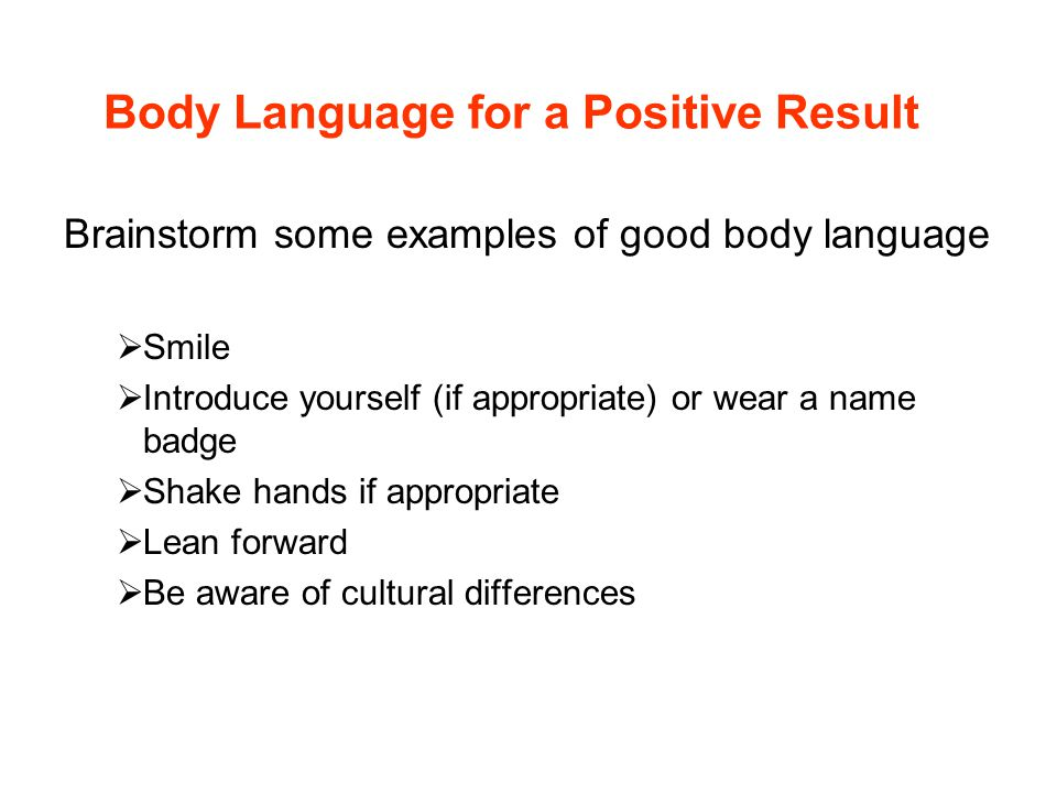 Body Language for a Positive Result