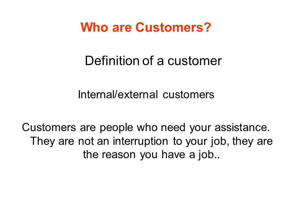 Definition of a customer