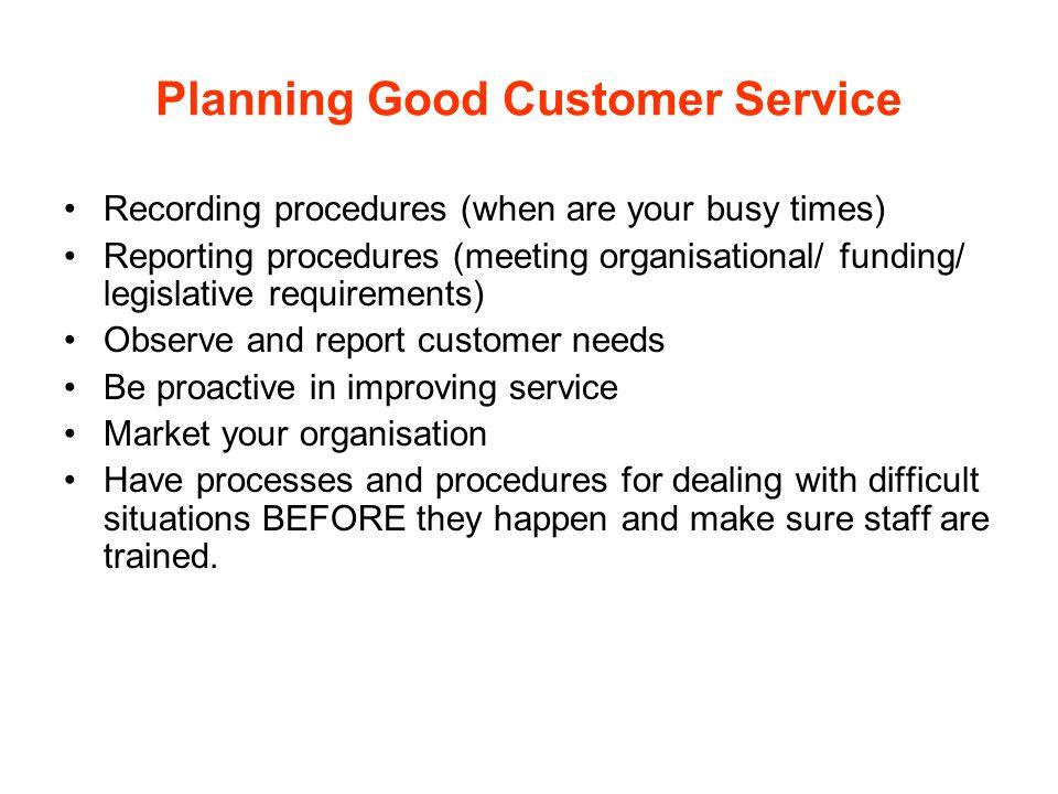 Planning Good Customer Service